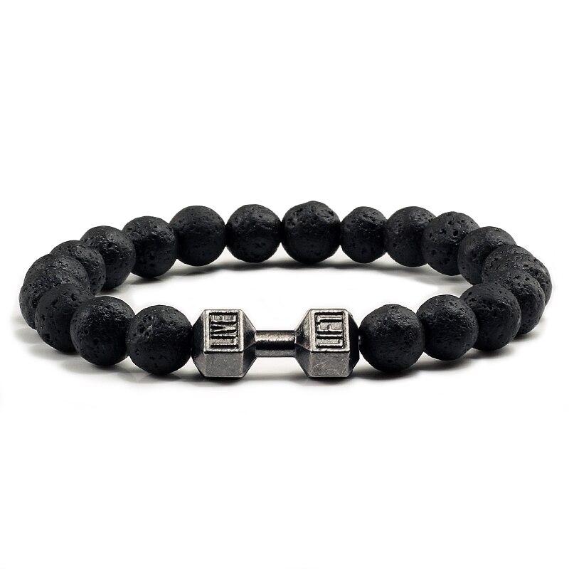 Натуральный черный камень из вулканической лавы браслет с гантелей, черные матовые браслеты с бусинами для женщин и мужчин, фитнес-браслет, ювелирные изделия