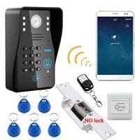 720p wireless wifi rfid password video door phone doorbell intercom system with no electric strike door lock