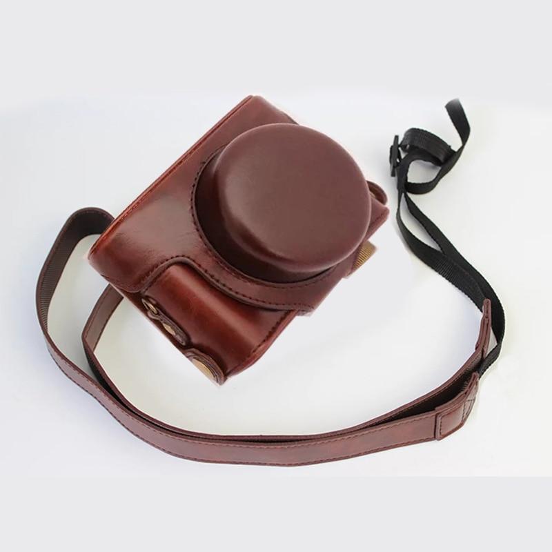 Funda de cuero PU portátil para cámara Panasonic LUMIX LX7 LX5 LX3 DMC-LX7 cubierta protectora para cámara con correa