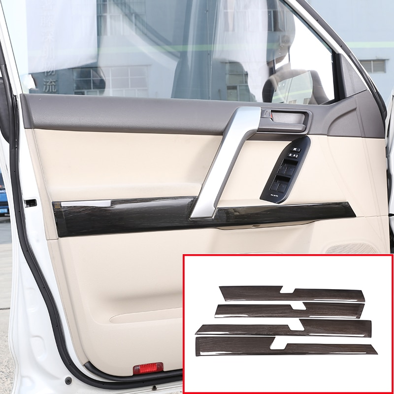 Para Toyota Land Cruiser Prado FJ150 150 2010-2018 grano de madera negro Interior ABS puerta decoración tapicería Panel coche accesorios 4 Uds