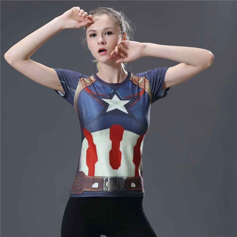 Superhéroe Capitán América Spiderman Superman Batman camiseta de compresión mujeres Yoga Top manga corta Deporte Fitness Yoga camisa