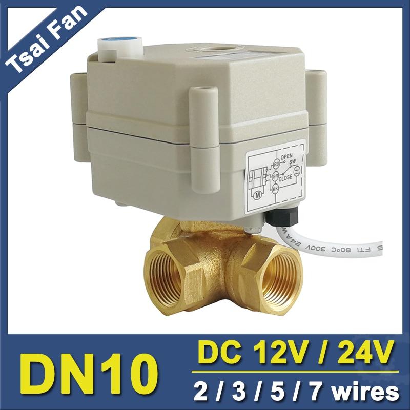 TF10-BH3-B Messing 3/8 (DN10) 2/3/5/7 Drähte DC12 oder DC24V 3 Weg T/L Typ Horizontale Elektrische Ventil