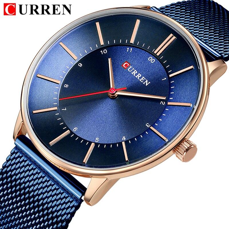 CURREN 2018 למעלה מותג יוקרה אופנה עור רצועת קוורץ גברים שעונים מקרית תאריך עסקי זכר שעוני יד שעון Montre 8303