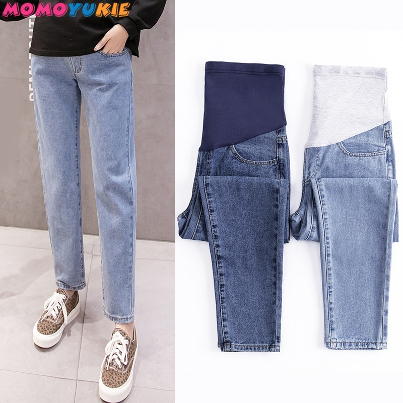 Vintgae Washed Denim Maternity Jeans Elastic Waist Belly Loose Pants Clothes for Pregnant Women 9/10