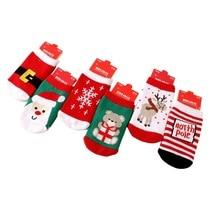 2018 Christmas Themed Children Pure Cotton Cartoon Jacquard Socks Red Christmas Baby Socks Absorb Sweat Permeability Socks