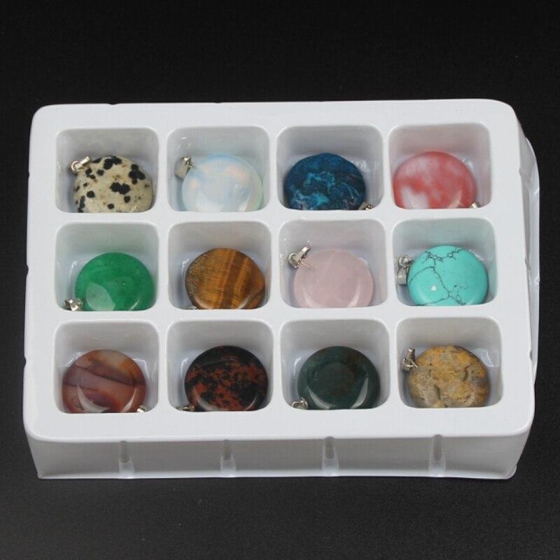 1 caja redonda de cuentas de piedra plana con combinación Natural de cuentas de piedra para fabricación de joyería DIY colgantes de decoración