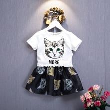 Fashion Cartoon Child Kids Baby Girls Outfits 2018 Summer Clothes Cute 3D Cat Print T shirt Tops Tutu Skirt Dress 2Pcs Cute Set