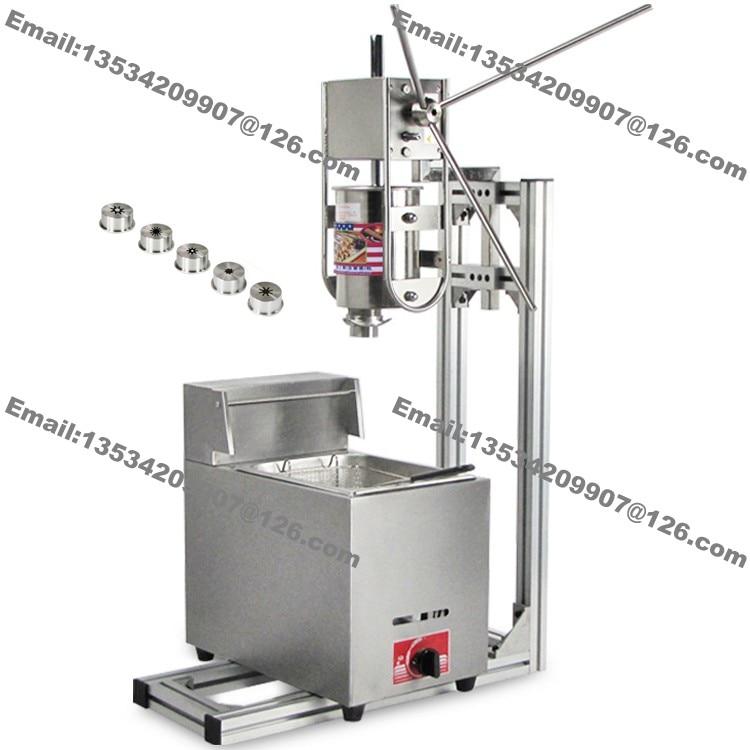 Free Shipping 5-Nozzle Heavy Duty 3L Vertical Manual Spanish Churro Machine Maker w/ 6L Gas Deep Fryer