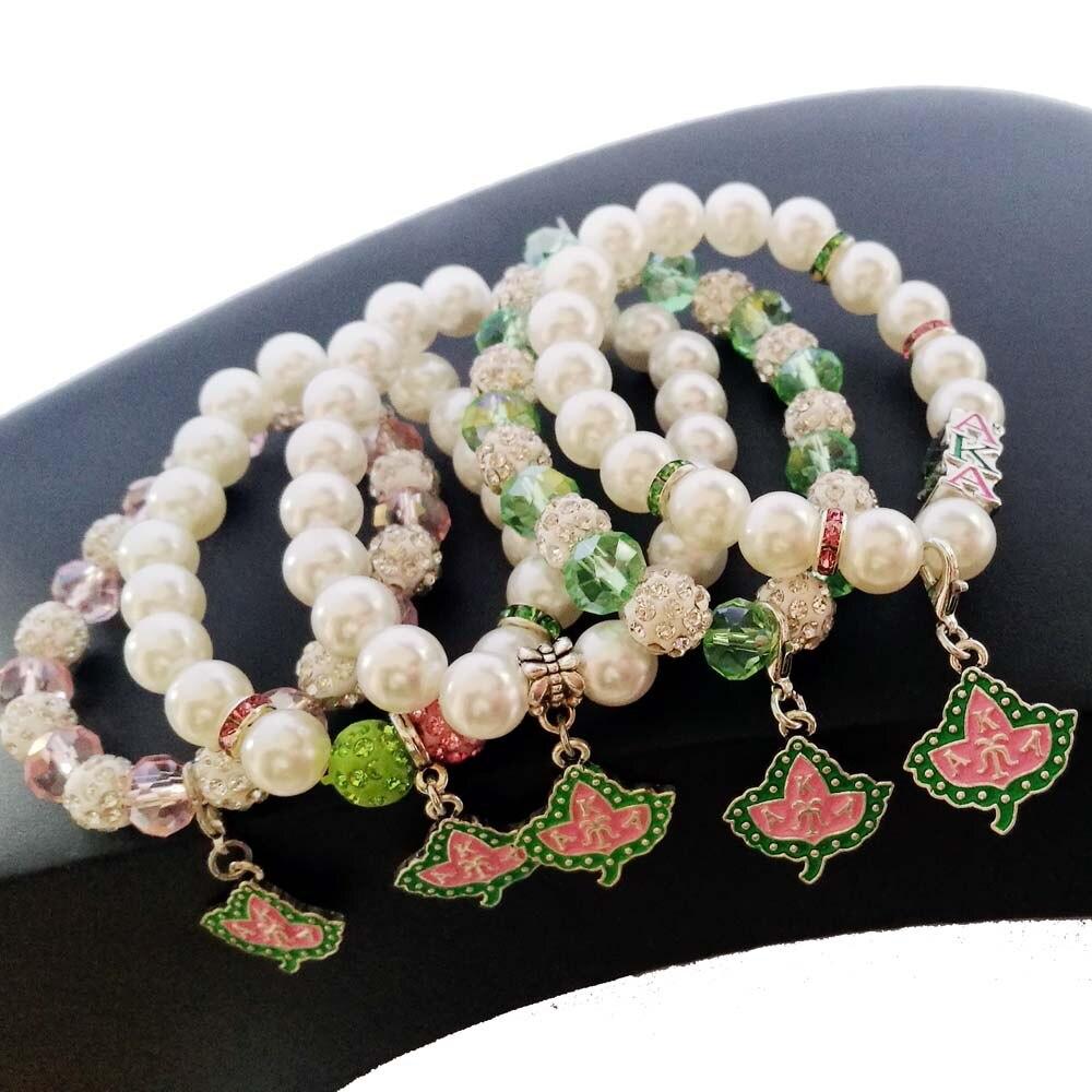 Прямая поставка, изготовленные на заказ розовые и зеленые хрустальные перламутровые браслеты для школы AKA с греческими буквами Alpha Ka Alpha Pearl IVY