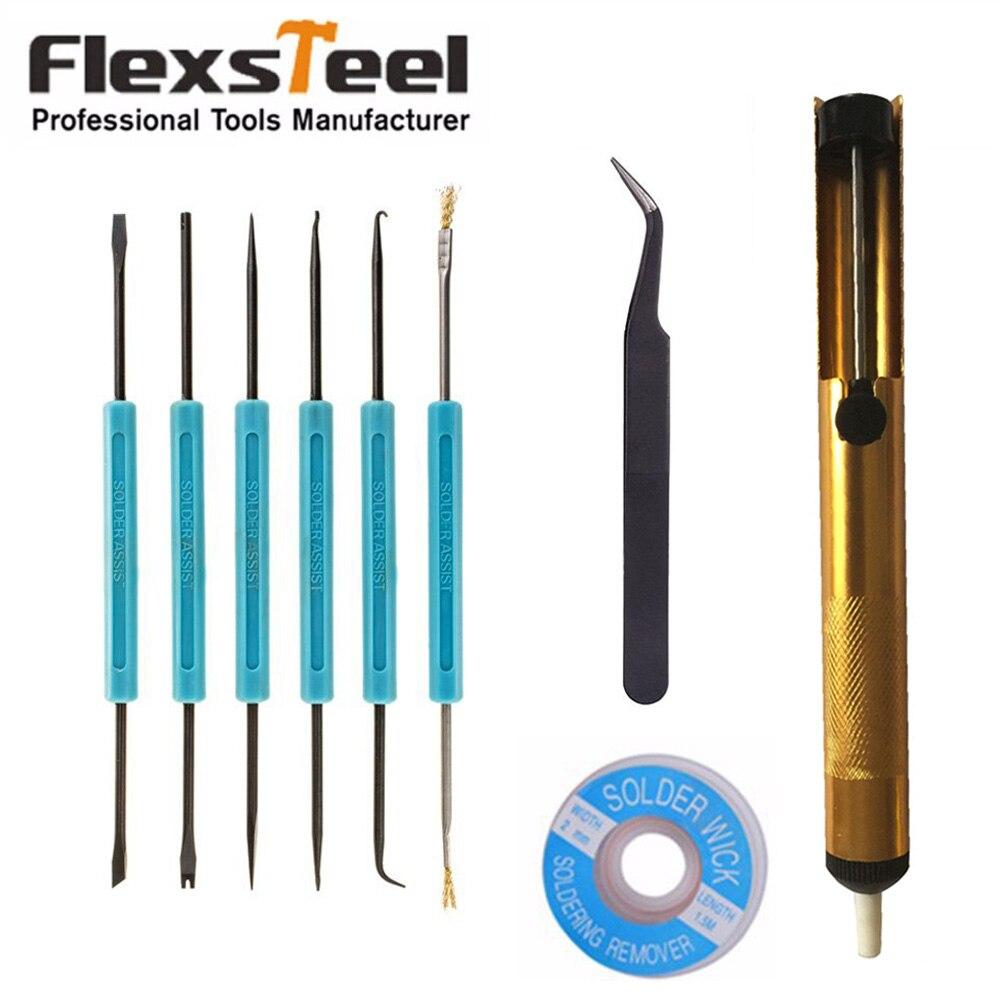 Kit de herramientas y accesorios de ayuda para soldar Flexsteel con pinzas de bomba de desoldar componentes electrónicos conjunto de herramientas de reparación de soldadura