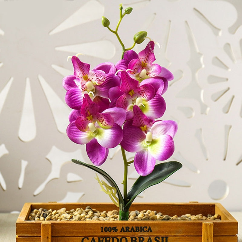 1 unidad de mini cabeza de flor artificial de Orquídea de polilla de tacto real para decoración de fiesta, decoración del hogar, plantas de flores falsas en maceta