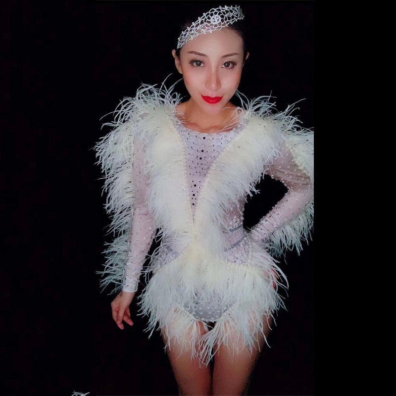 Trajes de DJ, mono Sexy de manga larga blanco, mono con plumas, atuendo para discoteca, Bar, atuendo para mujeres, cantante, Sexy traje de escenario DJ533