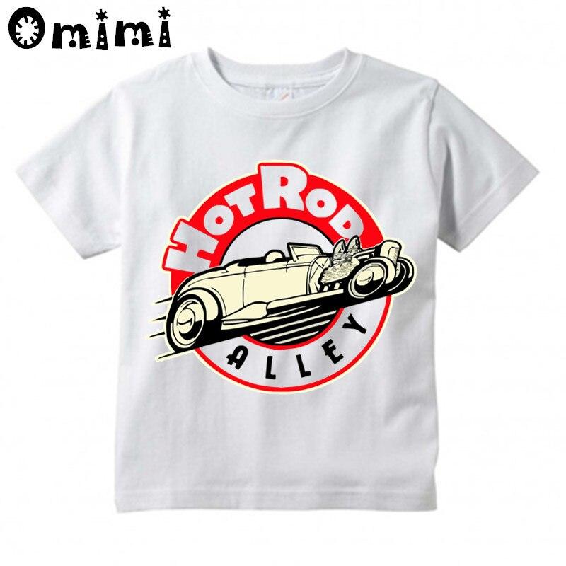 Jungen/Mädchen Ratte Stange Schule Klassische Muskel Auto Gedruckt T Shirt Kinder Kurzarm Tops kinder Weißes T-Shirt