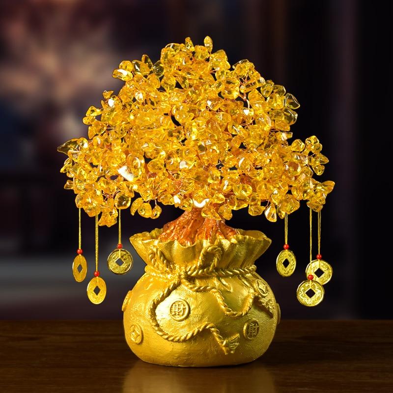 Mini árbol de dinero de cristal Feng Shui tradicional trae suerte riqueza decoración del hogar figuritas en miniatura regalo de fiesta árbol de dinero de cristal