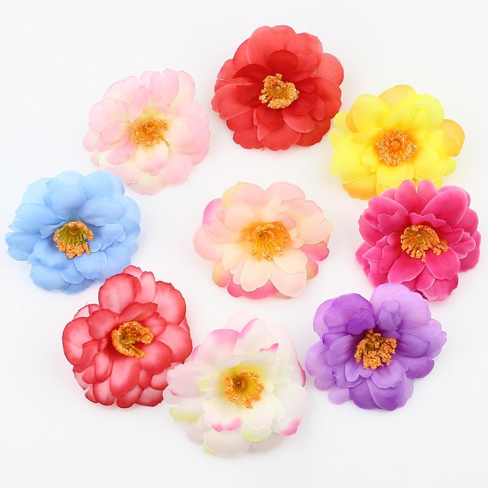 20 шт 6 см шелковые сливовые искусственные цветочные головки для DIY свадебные украшения, аксессуары для флористики Искусственные цветы