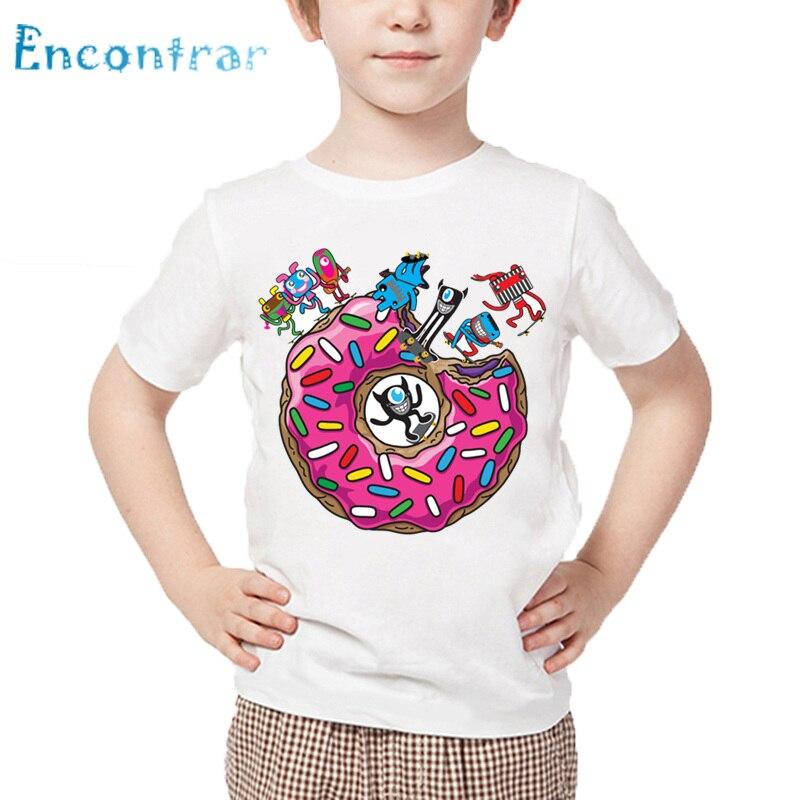 Enfants dessin animé paresseux/carlin en rose beignet impression drôle T-shirt bébé été hauts garçons et filles blanc doux T-shirt,HKPHKP5562