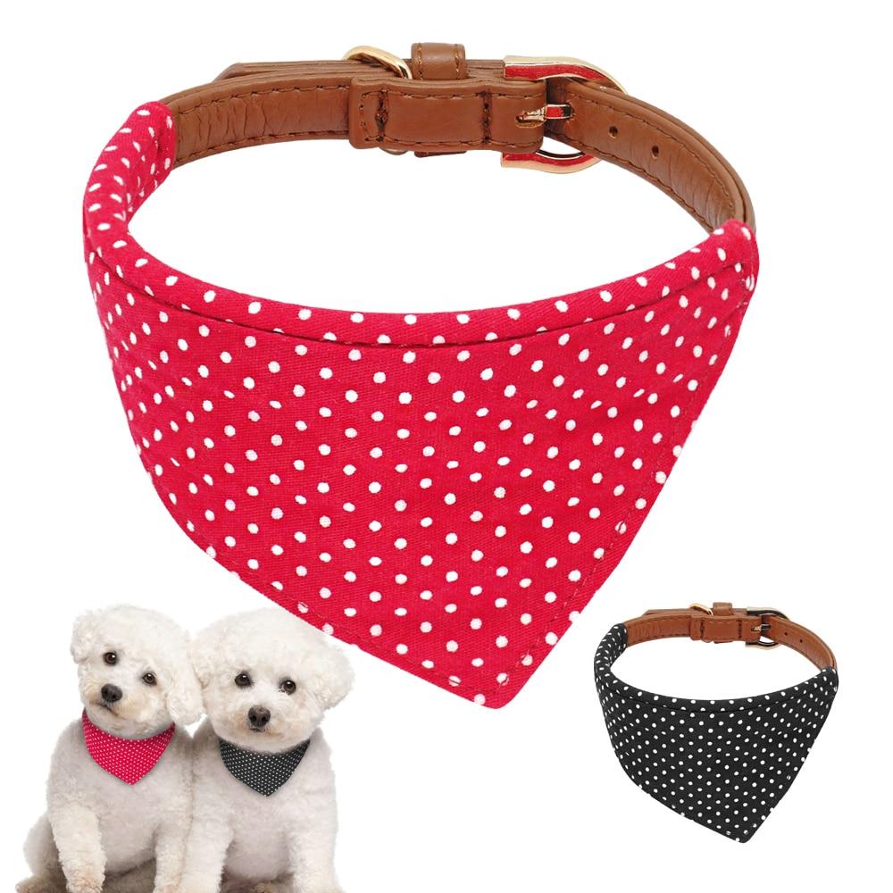 Pet Dog Cat Bandana Collar Adjustable Leather Dog Collars Puppy Cat Scarf Neckerchief Pet Accessories Tie For Small Medium Dogs