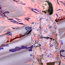 135cm width Imported European and American high-end pink flower jacquard Brocade Fabric,3D yarn dyed