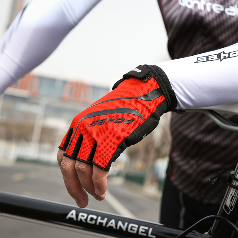 Nuevos guantes para ciclismo de montaña, guantes transpirables de Gel con medio dedo para monopatín y bicicleta, guantes para correr o deportes de bicicleta de carretera Sahoo 41914