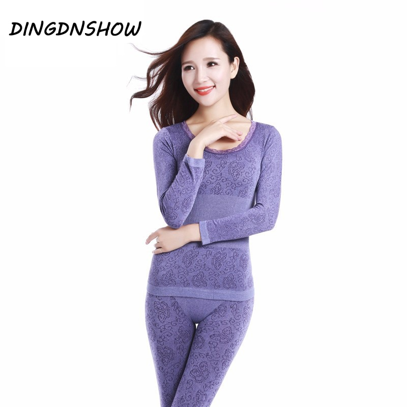 2020 Lace Thermal Underwear Sexy Ladies Clothes Winter Seamless Antibacterial Warm Intimates Print Long Johns Women Shaped Sets