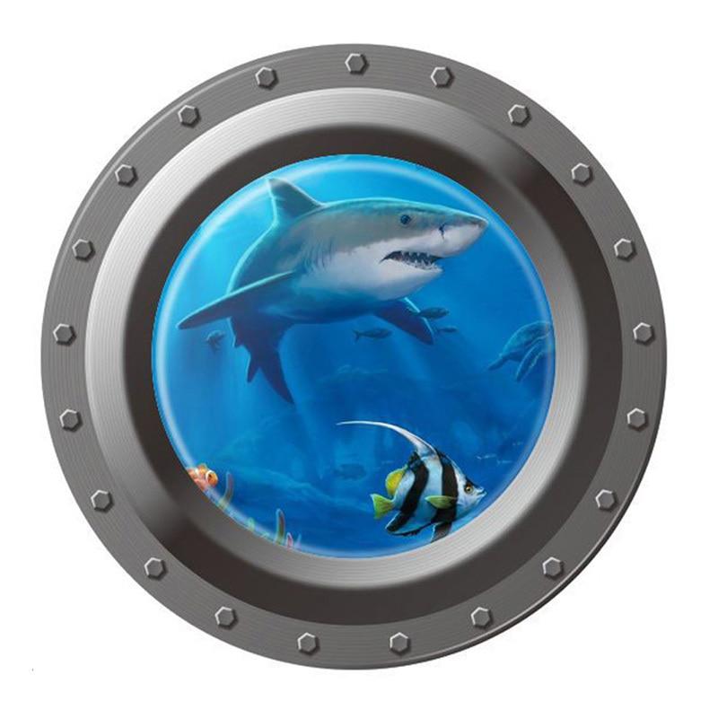 Mundo submarino vista del Océano 3D pegatina de pared/ventana para los niños pegatinas de pared de habitación decoración del hogar Mural empapelado E # CH