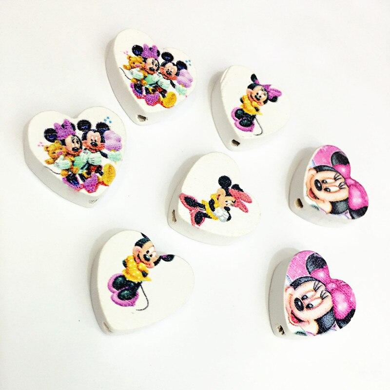 WD106 (50), 20mm corazón mezclado Flatback Micky caricatura ratón madera espaciador cuentas para álbum de recortes artesanía DIY juguetes de bebé joyería