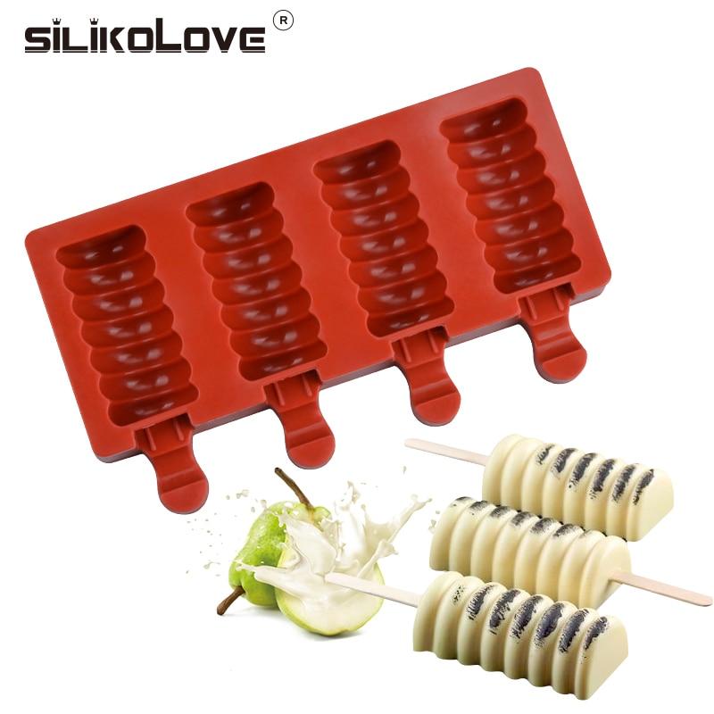 Силиконовая форма для Фруктового мороженого на палочке silicolove, полосатая форма для приготовления мороженого, сделай сам, Kithchen, домашняя форма для мороженого с палочками для мороженного
