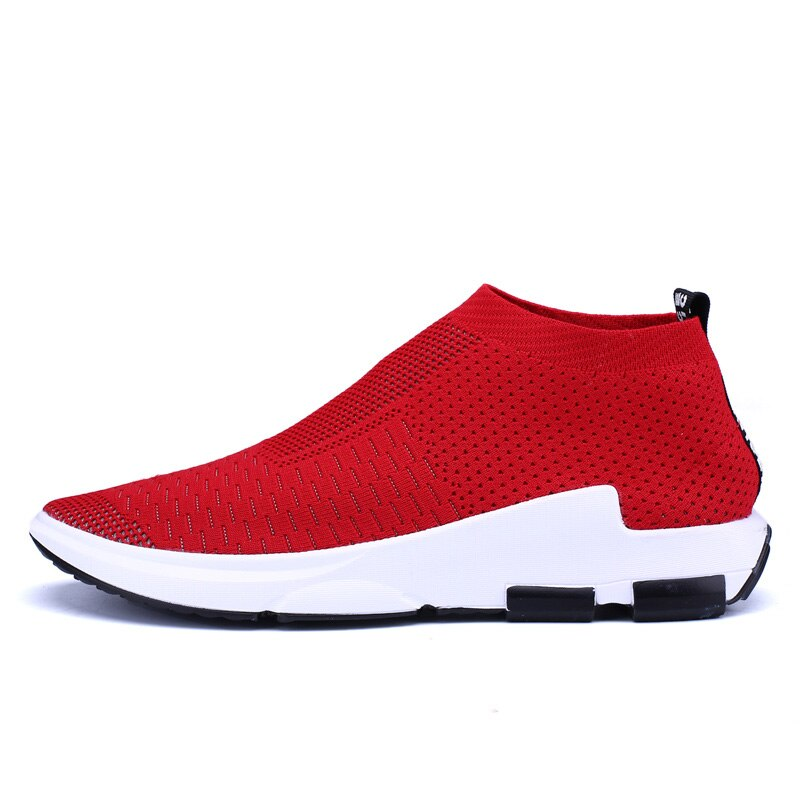 Zapatillas de correr para hombre mujeres de punto transpirable Zapatos de deporte luz negro rojo calcetines altos Zapatillas Hombre correr calzado para entrenar