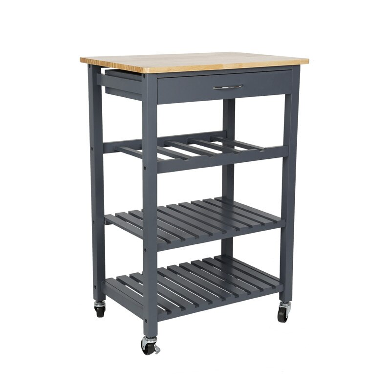 Cocina de pino macizo cocina estante de almacenamiento de cocina carro isla tres capa estante Rack con Universal de HWC