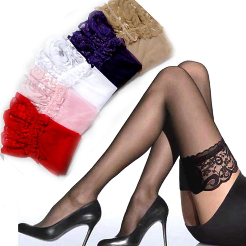 1 пара, соблазнительные кружевные высокие колготки для женщин и девушек, колготки для ночных клубов, тонкие кружевные шелковые сексуальные колготки, 6 видов цветов, N84, Z44