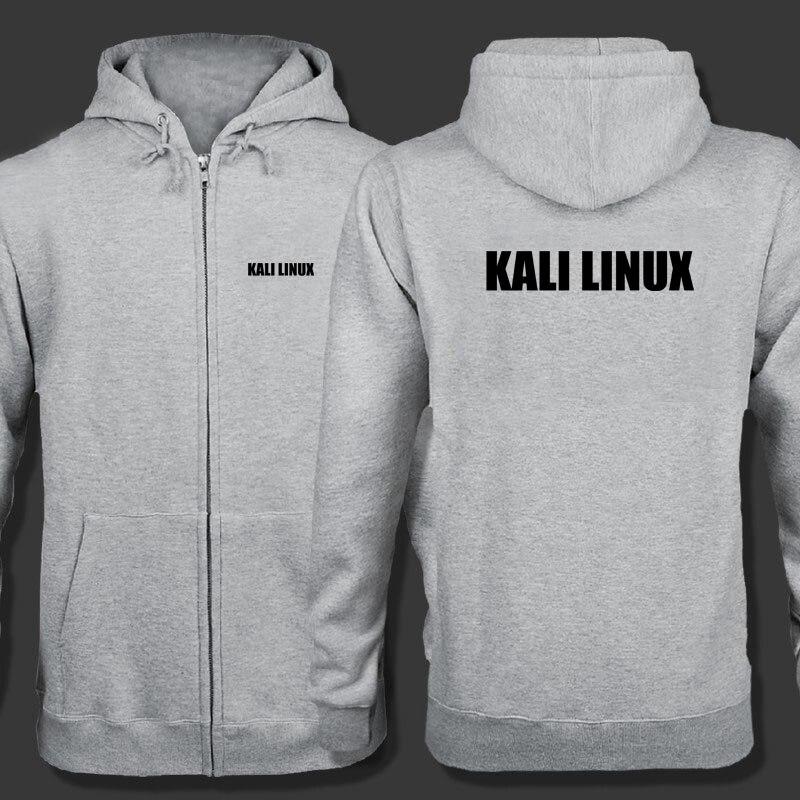 Primavera cárdigan hombres Kali Linux logo cremallera sudaderas chaqueta imprimir ropa moda Casual cremallera sudadera