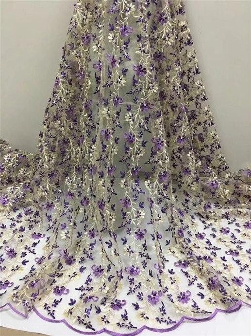Azul real Borgoña tul francés tela de encaje flor Africana tela de malla metálica con cuentas flores para vestido de novia naranja púrpura
