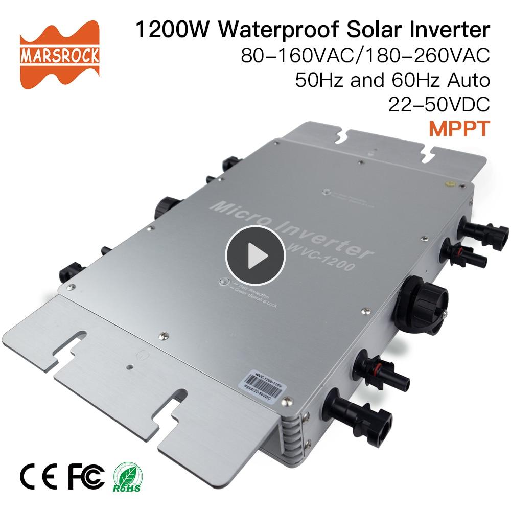 Impermeable IP65 MPPT 1200W Smart Grid inversor Solar DC 22-50V a 80-160VAC o 180-260VAC 50 hz/60 hz max para 1400W paneles
