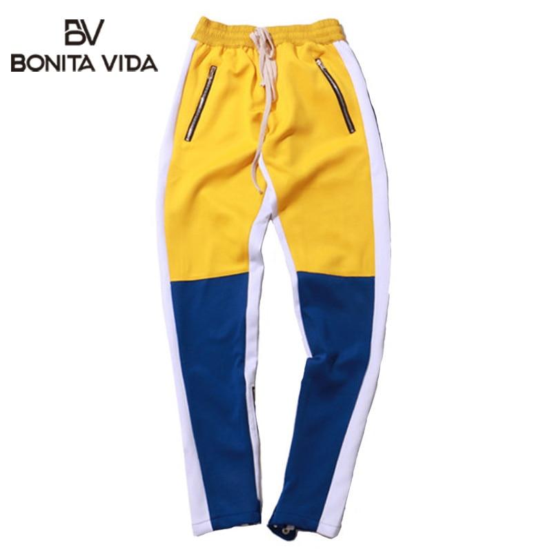 Nouveau Vintage Patchwork pantalons de survêtement hommes mode Hip Hop côté fermeture éclair décontracté couleur bloc hommes Joggers pantalon Streetwear