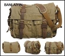Femme hommes Vintage toile cuir mallette décolier militaire voyage sac à bandoulière Messenger fronde sac à bandoulière sacoche-carbone