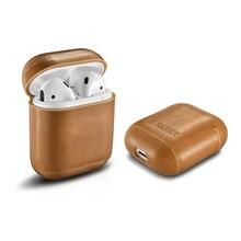 علبة سماعات أذن لأجهزة Apple Airpods من الجلد الأصلي مزودة بغطاء حماية مكون من ملحقات الحقيبة والأكمام