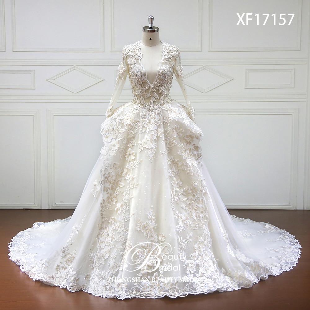 Luxurious Crystal High-end Custom made Wedding Dress 2018 Deep V-Neck Sexy Long Sleeve Wedding Dresses Vestido de Noiva XF17157