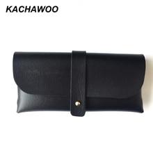 Kachawoo sac en cuir PU pour lunettes accessoires   Noir marron rouge portable pochette à boutons, étui de lunettes de soleil souple pour femmes