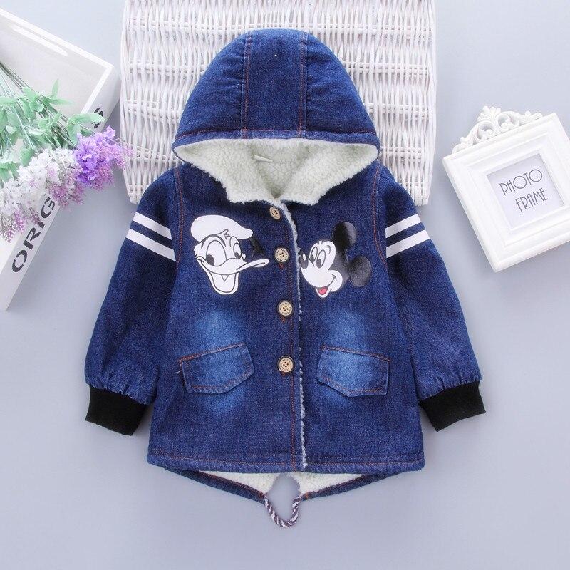 Chaqueta para niños, Minnie Mouse, chaqueta vaquera para niñas, abrigo de invierno con capucha, chaqueta acolchada para bebés, 1-6T, ropa de abrigo gruesa para niños