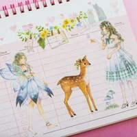 6 sheets pack butterfly fairy pastoral elves adhesive stickers decorative album diary stick label paper hand account decor