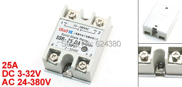 Solid State Relay SSR-25 DA 25A 3-32V DC Input to 24-380V AC Output Single Phase for Temperature Controller