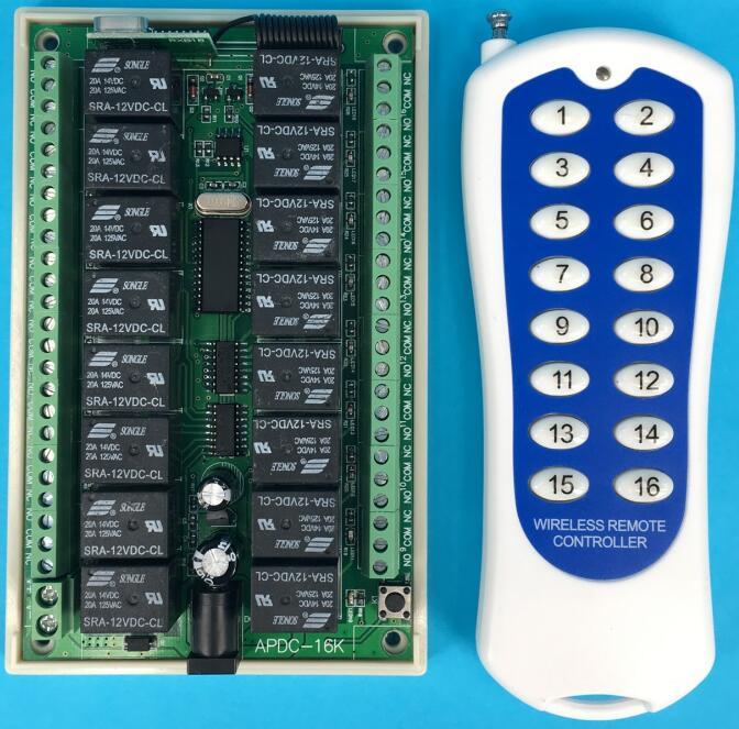 1000M طويلة المدى DC12V 16CH راديو المراقب RF اللاسلكية التحكم عن بعد التبديل نظام 1 قطعة الارسال + 1 قطعة استقبال
