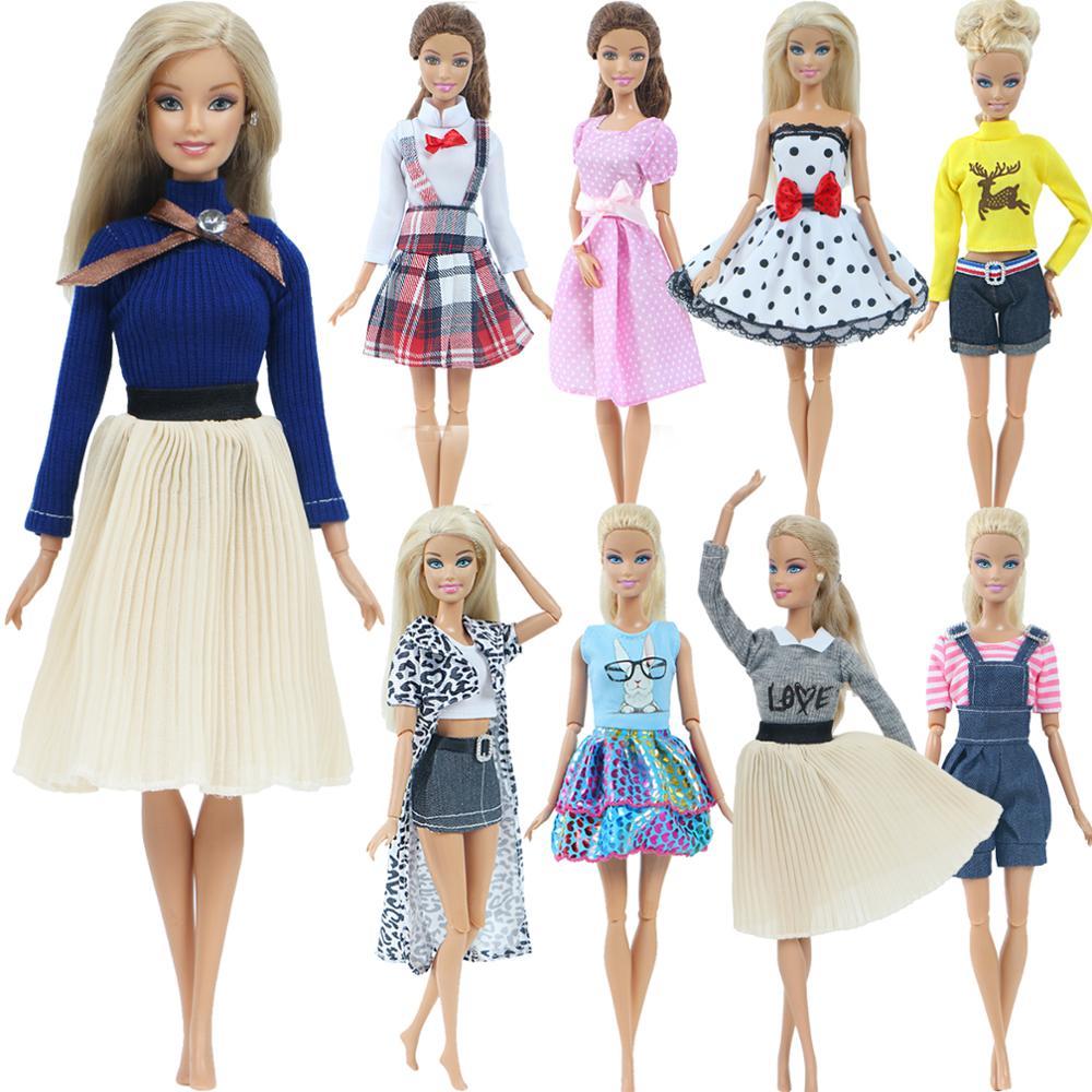 1 Conjunto de ropa Multicolor de moda Vestido de punto de ondas Camisa vaquera falda de rejilla ropa Casual diaria accesorios ropa para muñeca Barbie