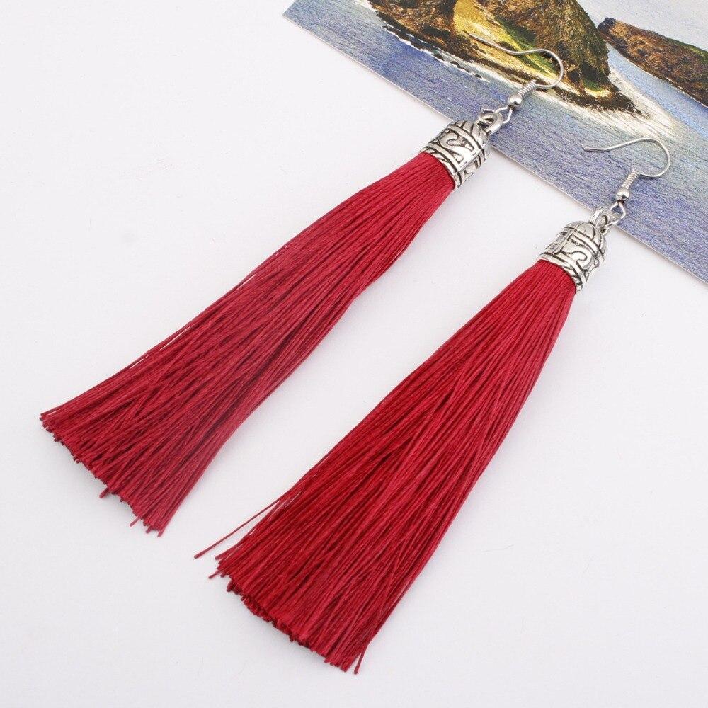 Boêmio 14 cores borla brincos feminino moda jóias gota balançar brincos longos tecido de seda étnica brincos vintage