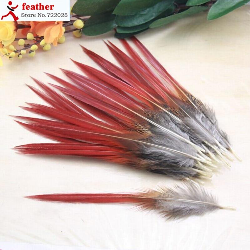 50 unids/lote 10-14cm plumas de faisán espada roja raro natural a granel pluma mosca pesca atar accesorios de sombrero material