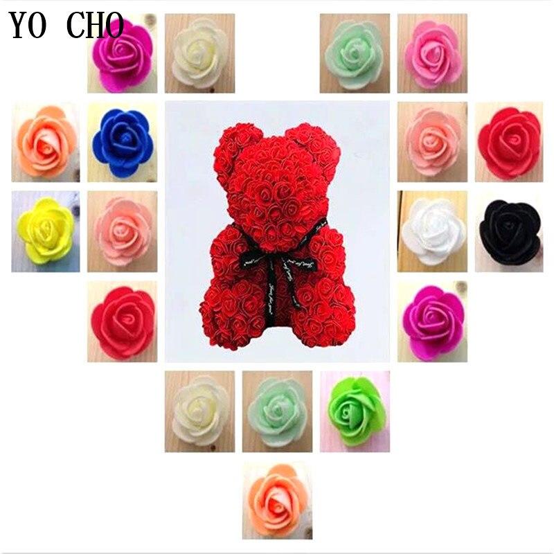 YO CHO 500pc Foam Bear Mini PE Foam Rose Heads Artificial Roses Flowers DIY Rose Bear Wedding Home Decor Festival Party Supplies