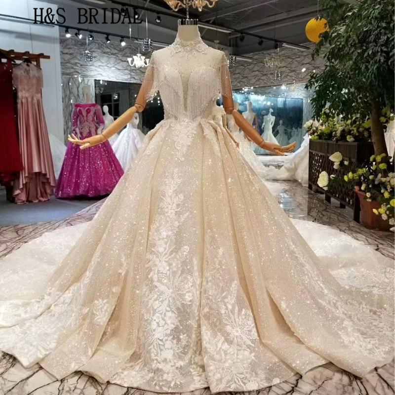 H & S-فستان زفاف من القماش الفاخر ، فستان زفاف بلون الشمبانيا ، ياقة عالية ، كريستالات ، Sposa ، قماش
