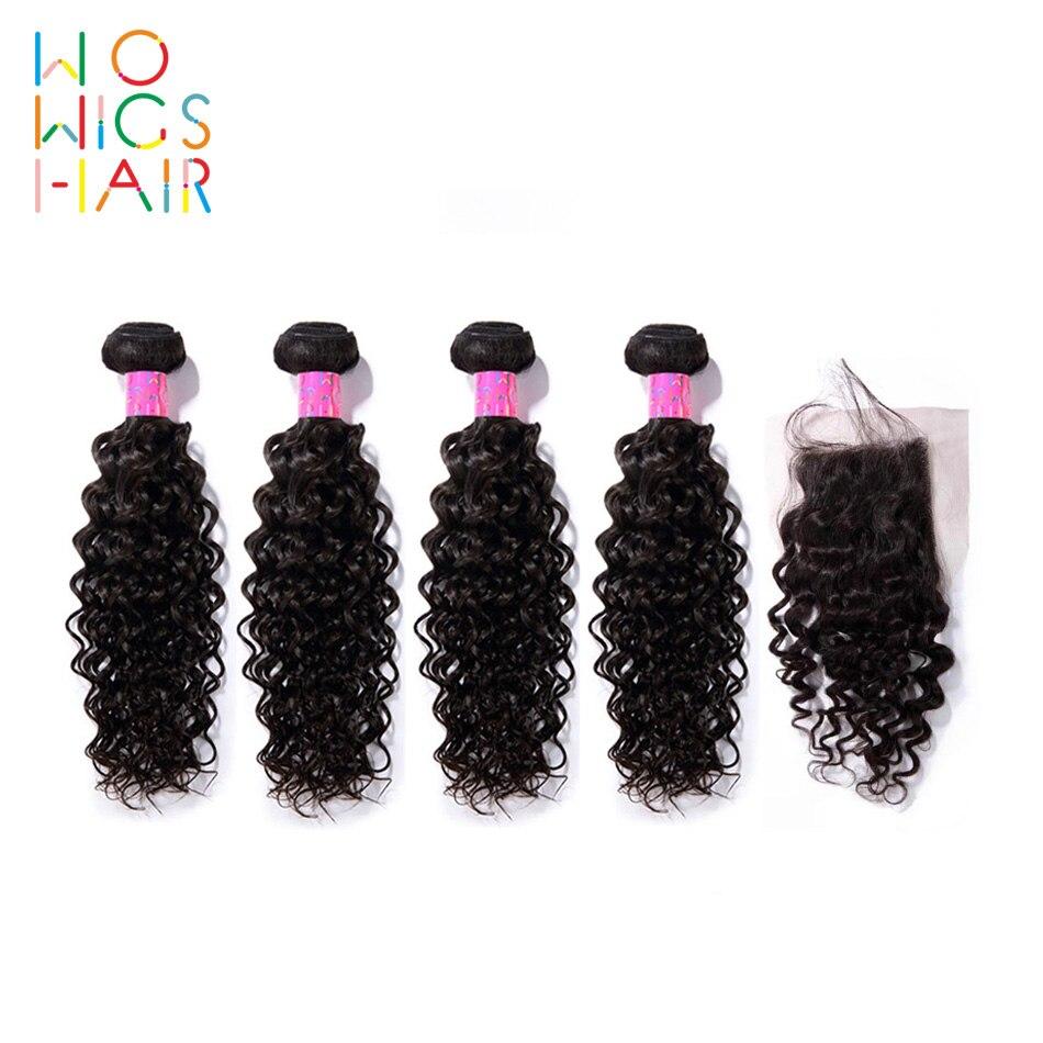 Wowigs hair 페루 헤어 레미 헤어 컬리 헤어 4/3 번들 탑 레이스 클로저로 거래 natural color 1b