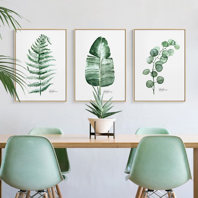 Cuadros de lienzo Tríptico de plantas verdes de estilo nórdico moderno con Cactus, cuadros de pared para sala de estar, carteles de habitaciones e impresiones para decoración del hogar HD