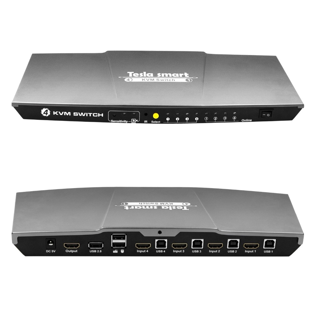 Free Shipping Tesla smart Gray USB HDMI KVM Switch 4 Port USB KVM HDMI Switch Support 3840*2160/4K*2K Extra USB2.0 Port